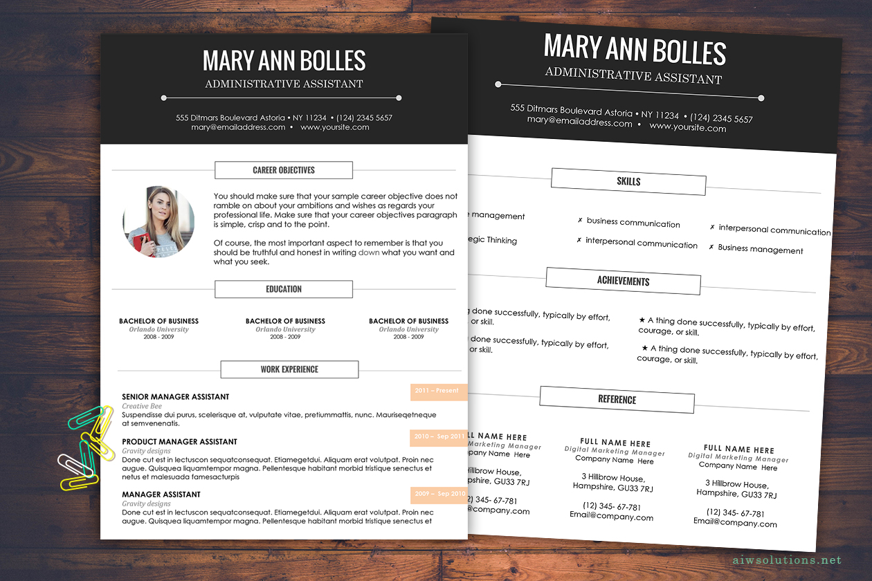 choose your resume template at aiwsolutions