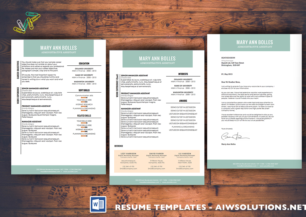 professional resume template  cv template  extra page  cover letter    word  modern simple