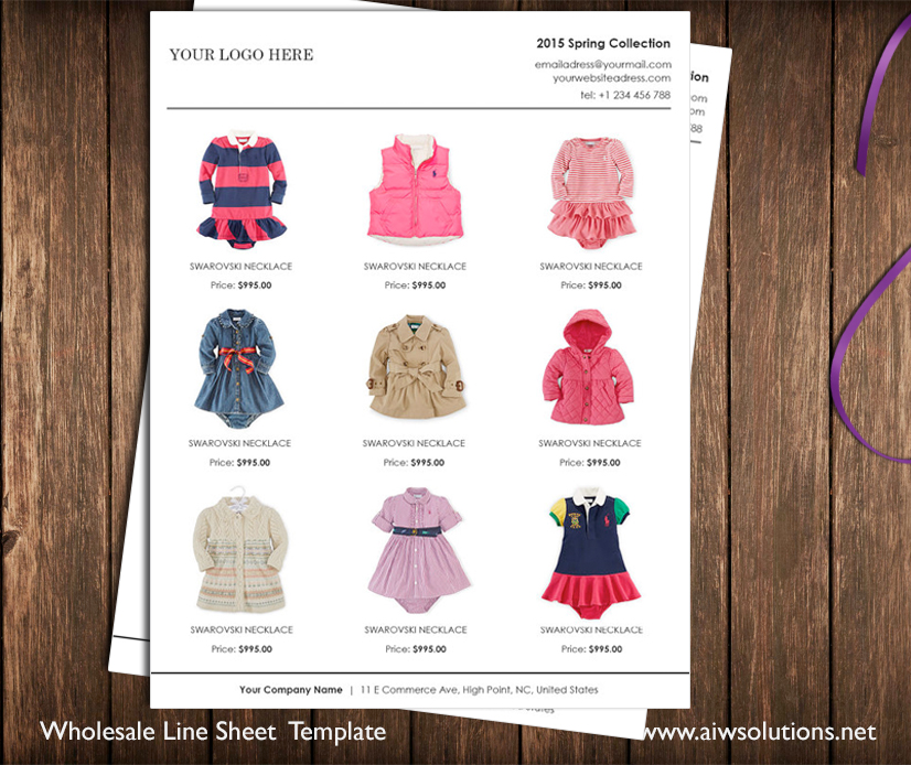 Wholesale linesheet template, Line Sheet template, product brochure ...