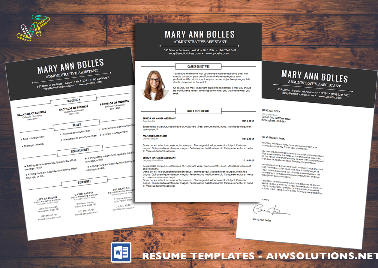 Resume Templates For Microsoft Word Choose Your Template At Aiwsolutions
