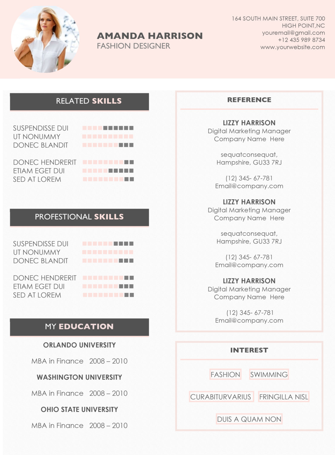 Resume / CV Template, Cover Letter for MS Word, Creative resume ...