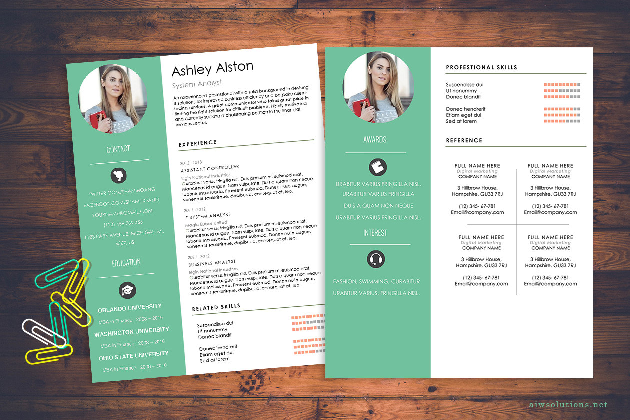 Resume cv template cover letter for ms word creative resume resumetemplate madrichimfo Choice Image