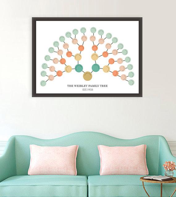 family history family tree fan chart genealogy reunion wall art geneology printable. Black Bedroom Furniture Sets. Home Design Ideas