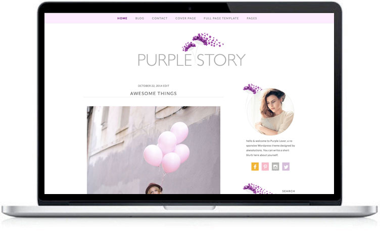 Responsive WordPress Theme , purple blog themes , MOBILE WordPress Template ,Blog Theme , WordPress Cooking website, Feminine template
