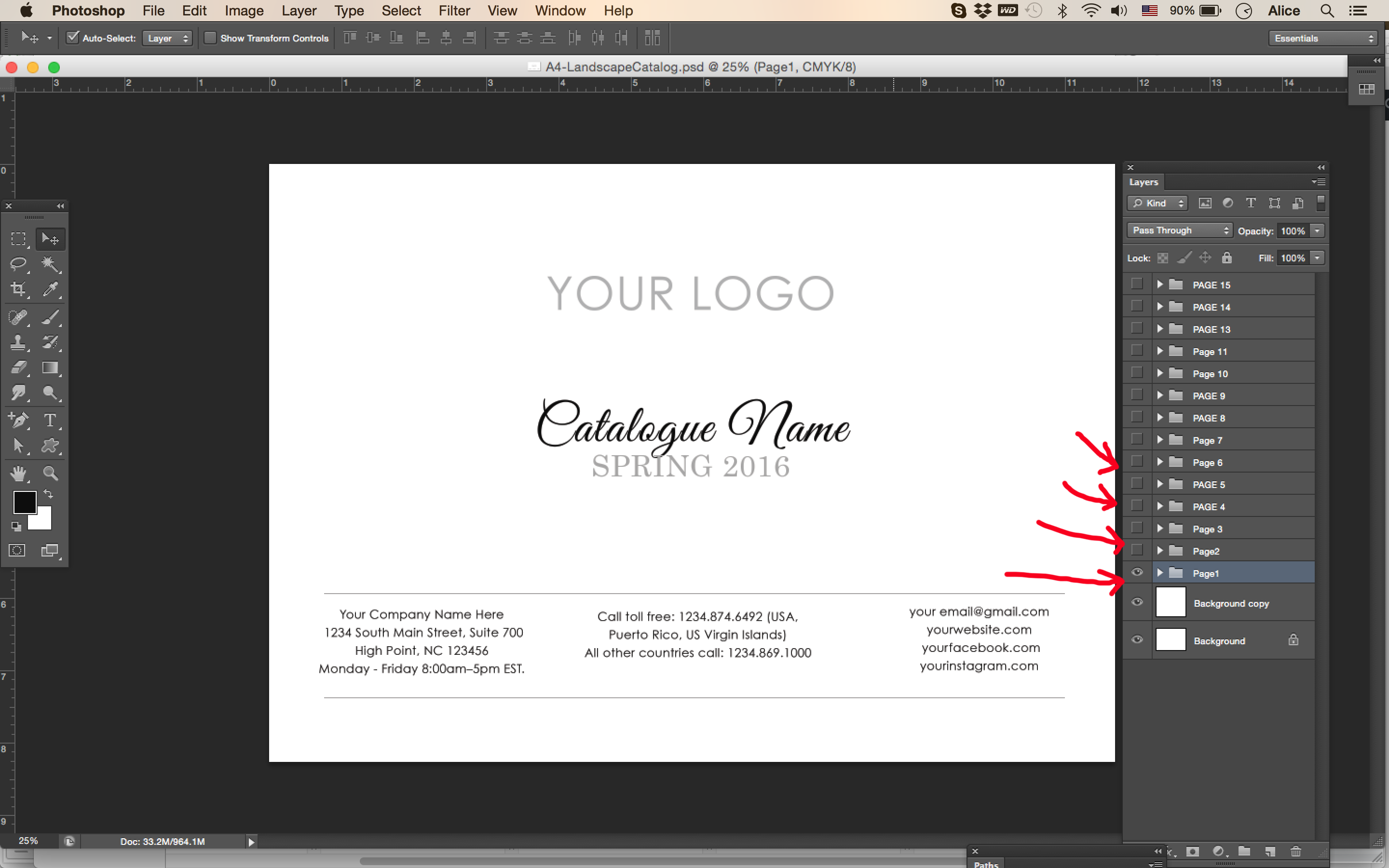 photoshop catalog template