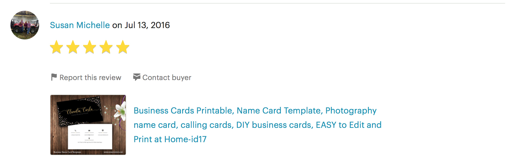 customer review for name card design 4