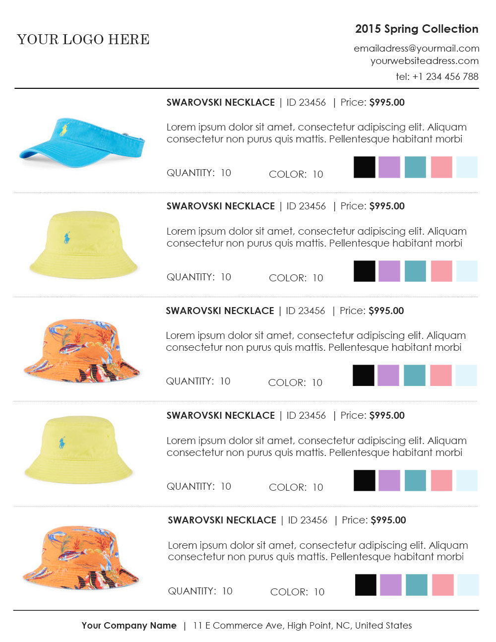 hat wholesale line sheet