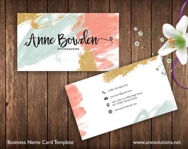 Business Card Template, Name Card Template, Photography name card, calling cards, DIY business cards