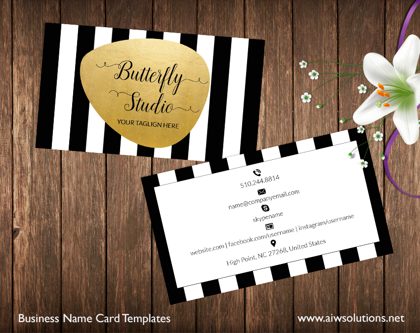 Premade Business Card Template Name Card Template Photography Name - Diy business card template