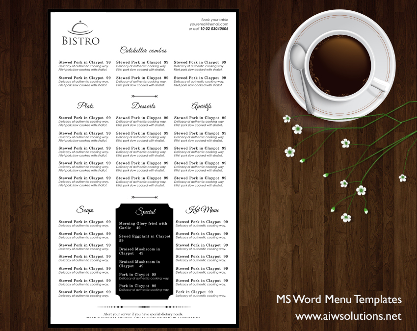 Food Menu Ms Word Template  Free Printable Restaurant Menu Template