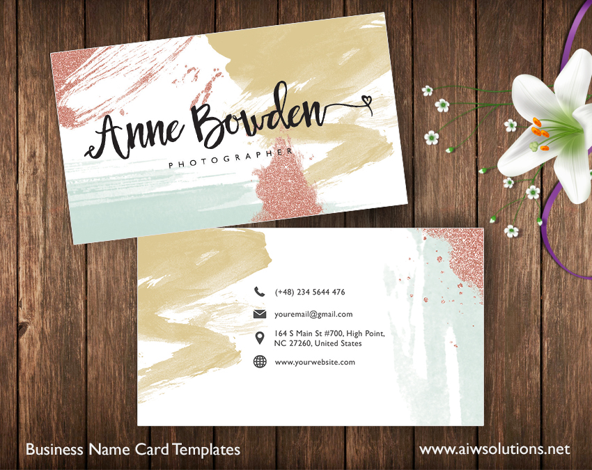 Create your own business card glitter water color premade create your own business card glitter water color premade business card template name card template photography name card model name card reheart