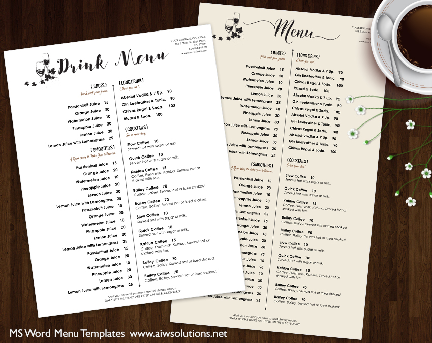 Design Templates Menu Templates Wedding Menu Food Menu bar – Drinks Menu Template Free