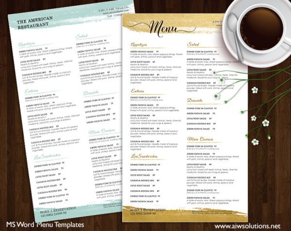 food menu and restaurant MENU