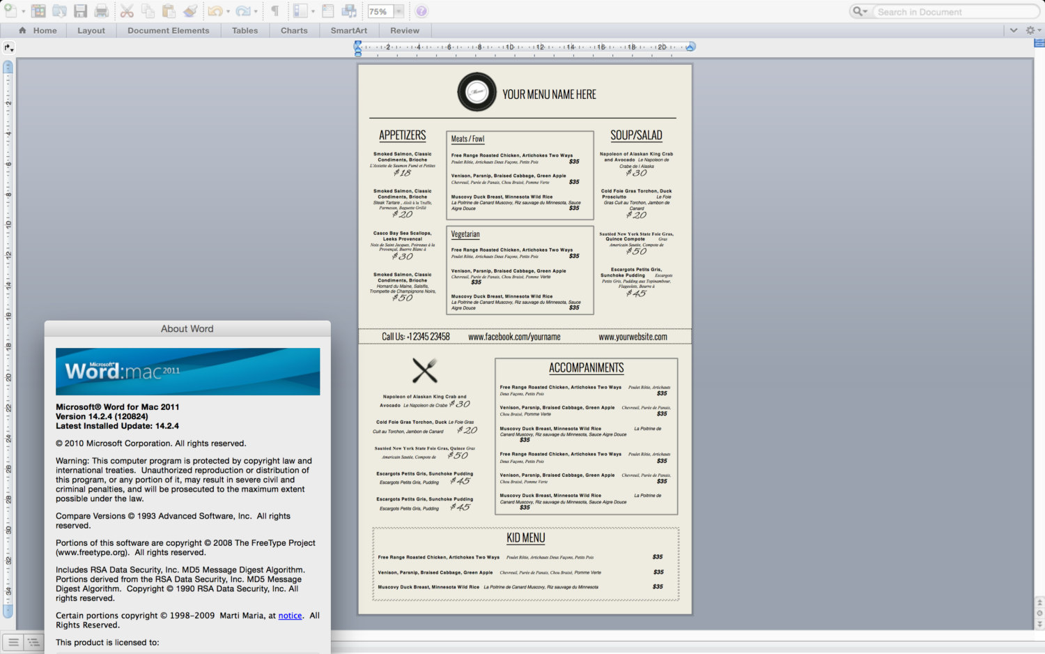 Microsoft Word Menu  Microsoft Office Menu Templates