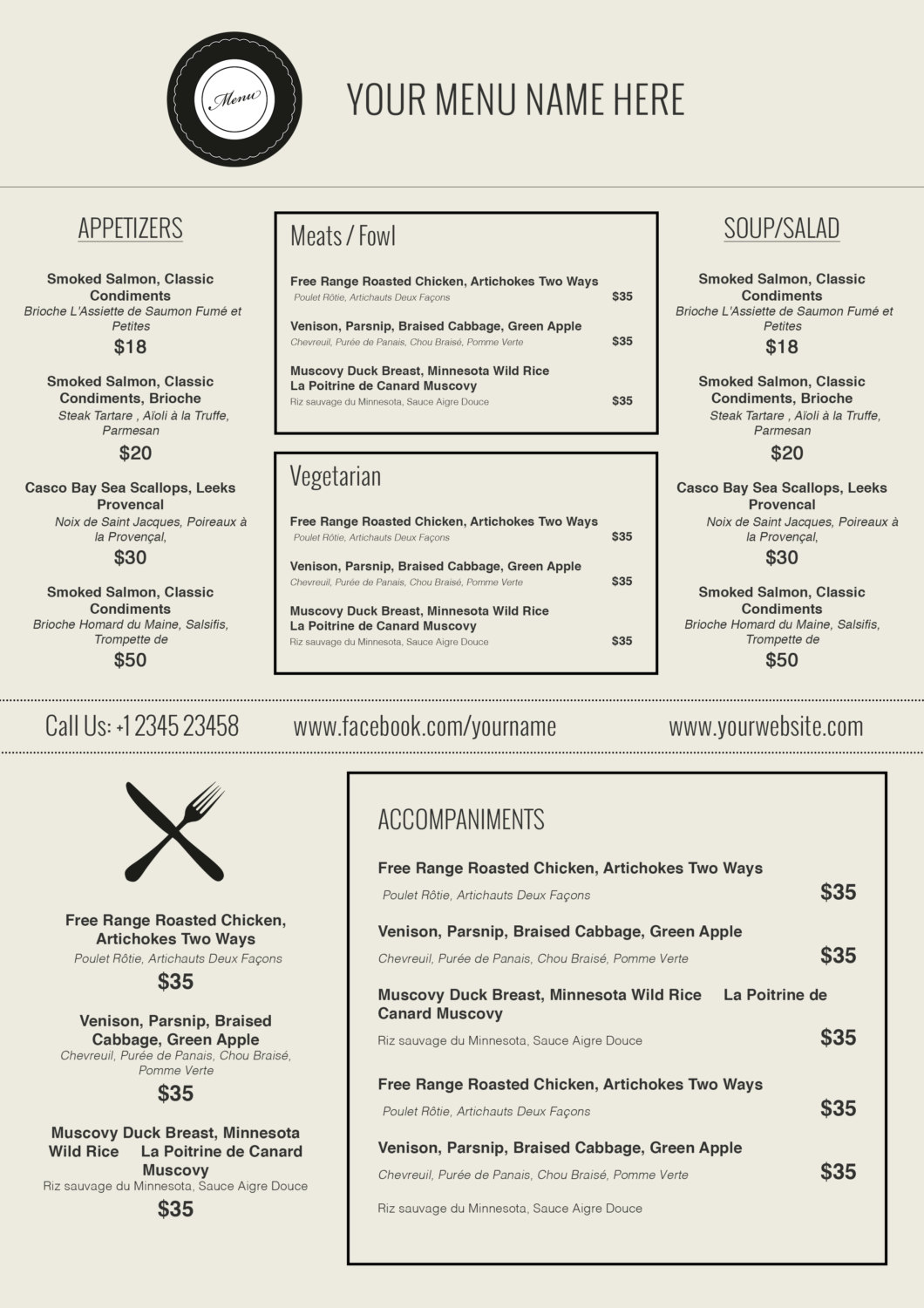 Charming Friench Food Menu Template In Ms Word Intended Free Printable Restaurant Menu Template