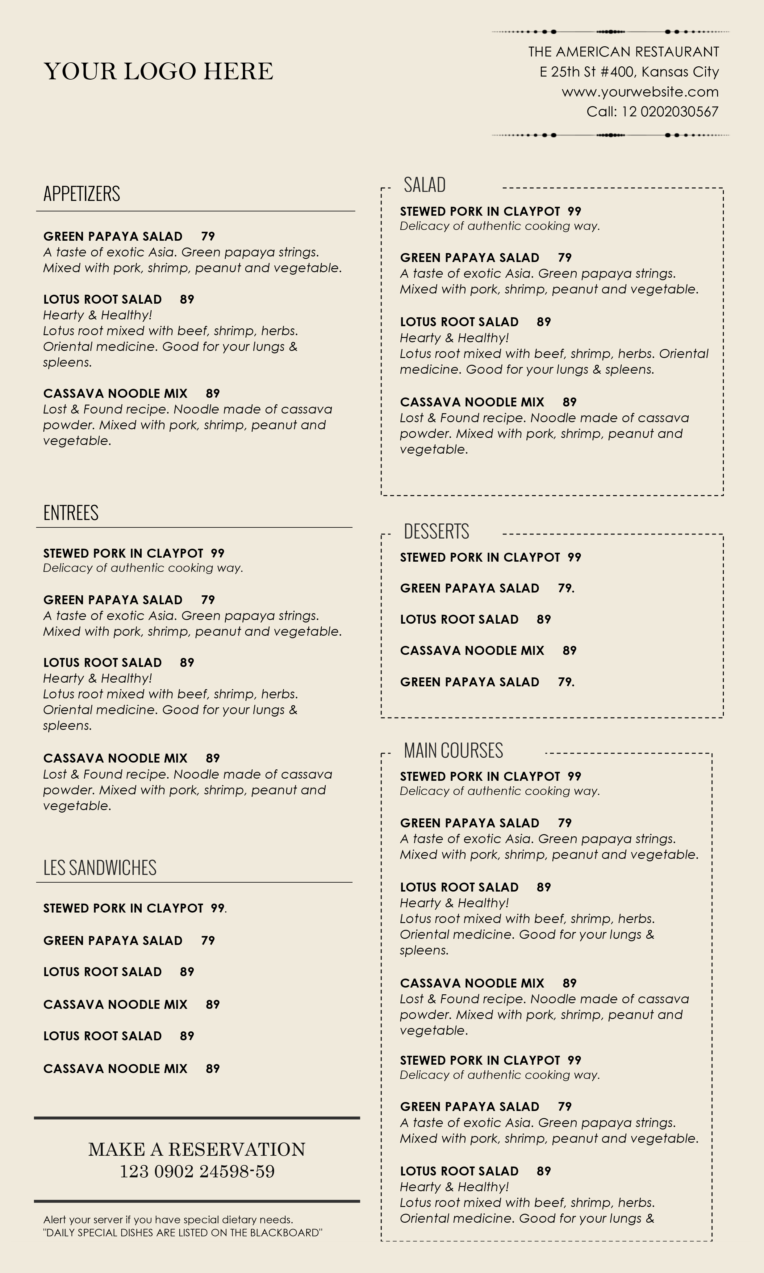 Restaurant menu template microsoft word juvecenitdelacabrera restaurant flashek Choice Image