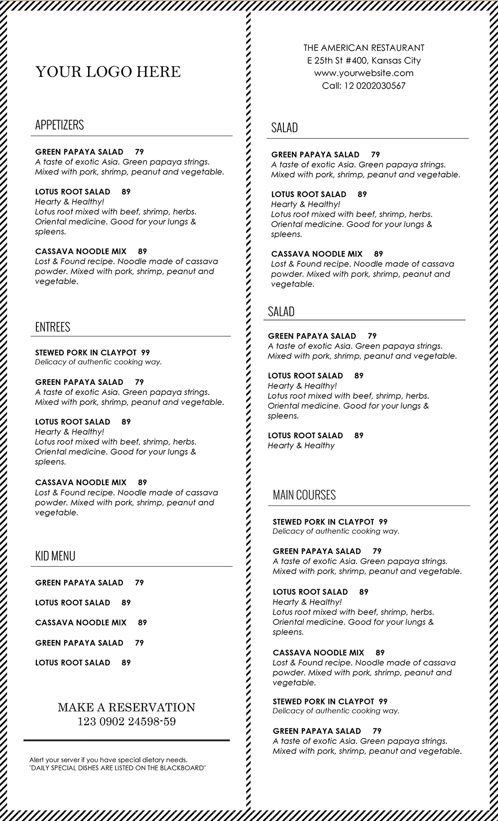 food menu template word