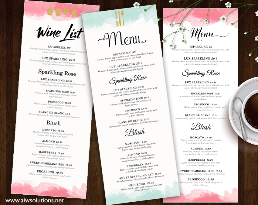 Design Templates Menu Templates Wedding Menu Food Menu Bar - Free printable drink menu template
