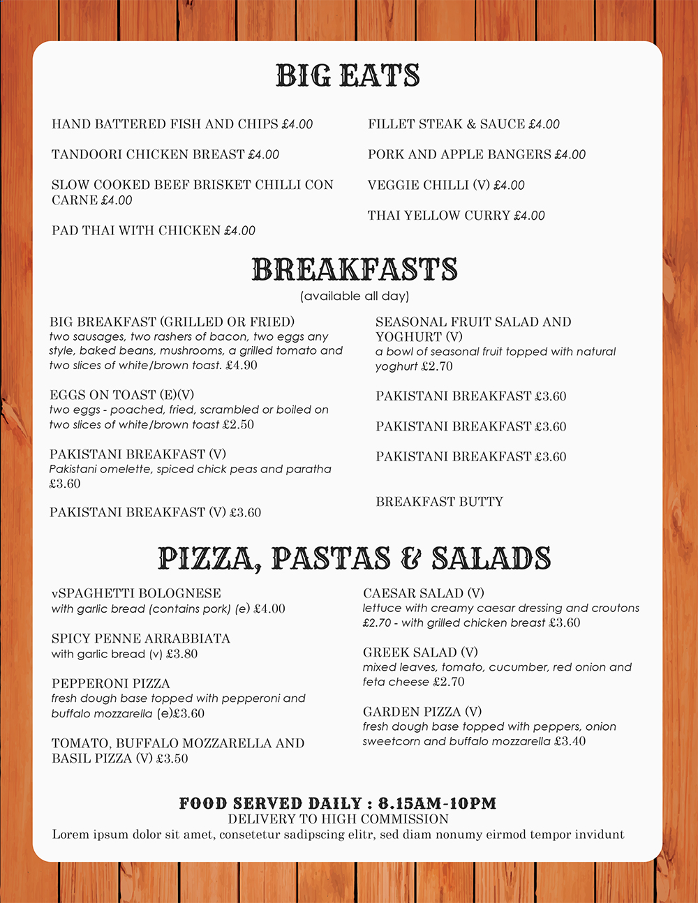 Free restaurant menu templates for word for Templates for restaurant menus