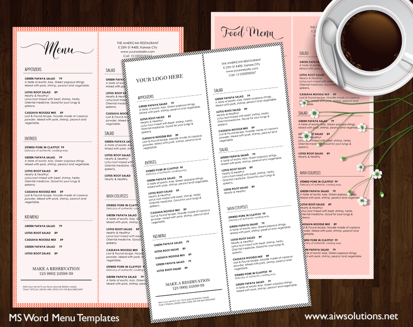 Restaurant Menu Template  Aiwsolutions