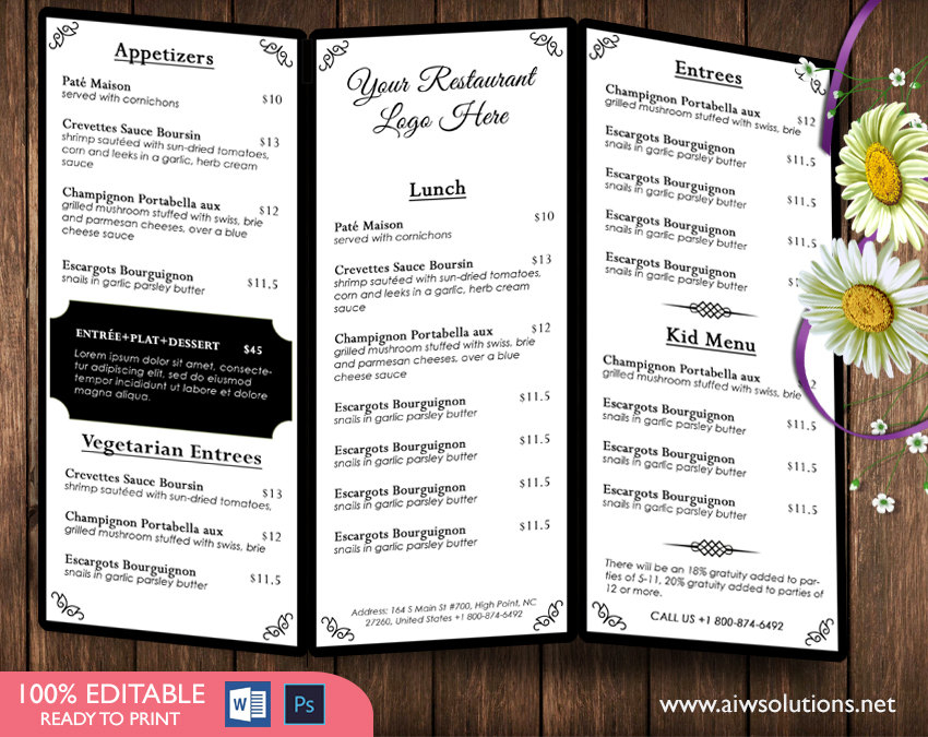 tri fold menu template 1