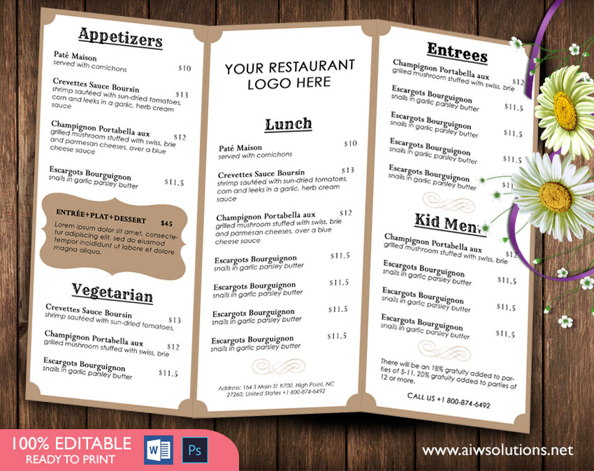 French MenuTemplates, Printable Restaurant Menu Template, Wedding Menu Template, Food Menu Template,DIY bar menu template ,bar menu, id03