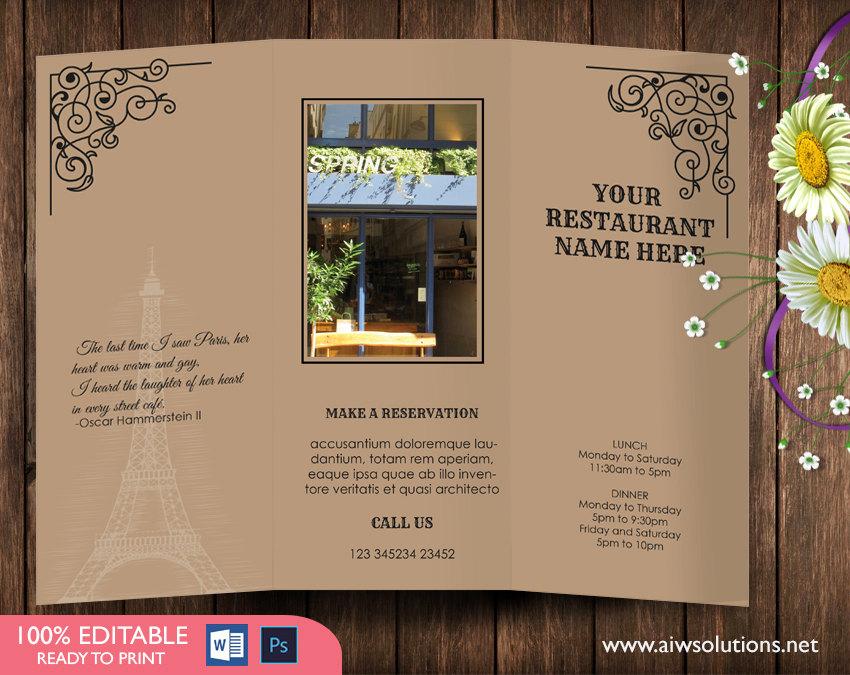 tri fold menu template 2
