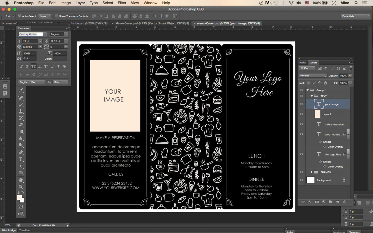 Design Templates Menu Templates Wedding Menu Food Menu bar – Microsoft Word Tri Fold Template