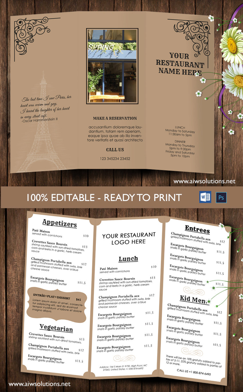Design templates tri fold take out menu menu templates for Drink menu template microsoft word
