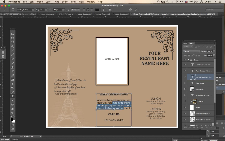 tri fold menu template 4