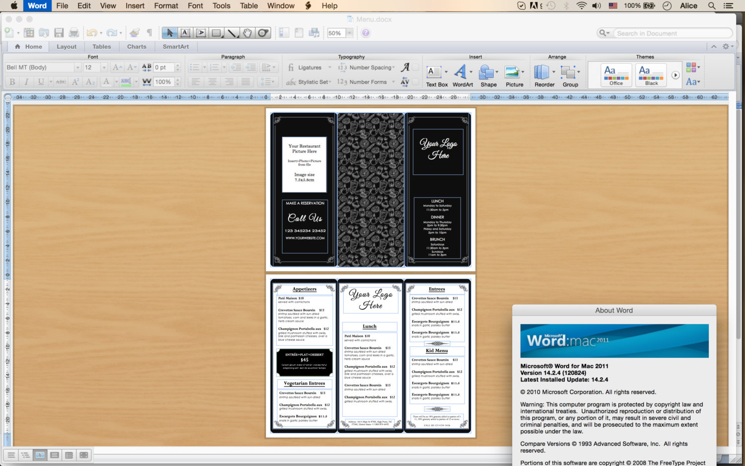Tri Fold Menu Template 5  How To Make A Food Menu On Microsoft Word