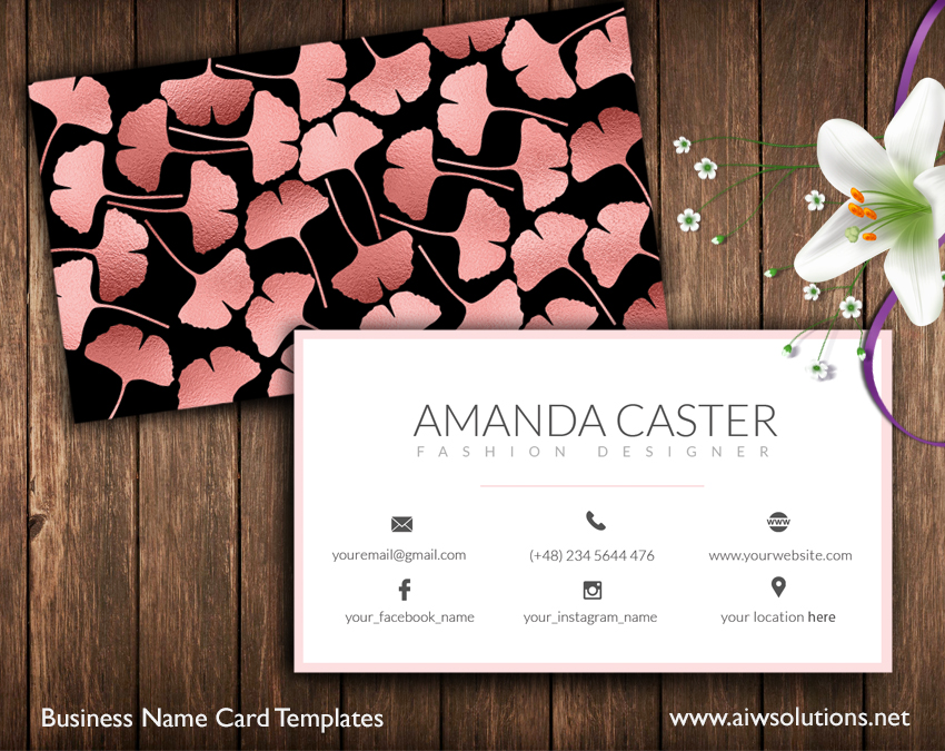 Premade Business Card Template Name Card Template Photography Name Card Model Name Card Customise Business Template