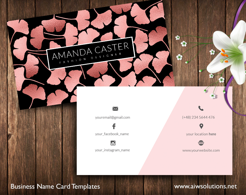 Ginkgo name card ROSE GOLD