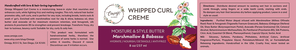 WHIPPED CURL CREME label design