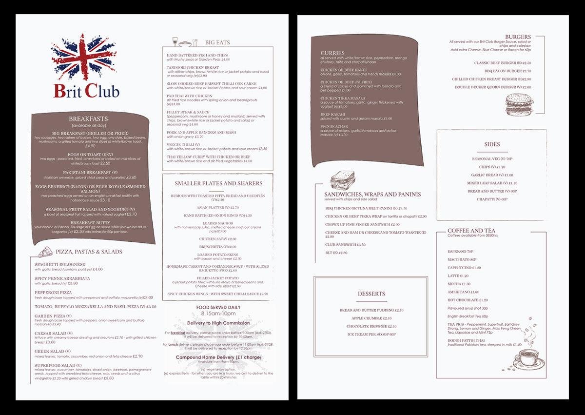 custom menu design