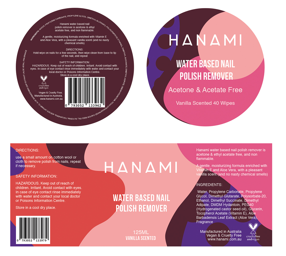 label design for water based nail polish remover