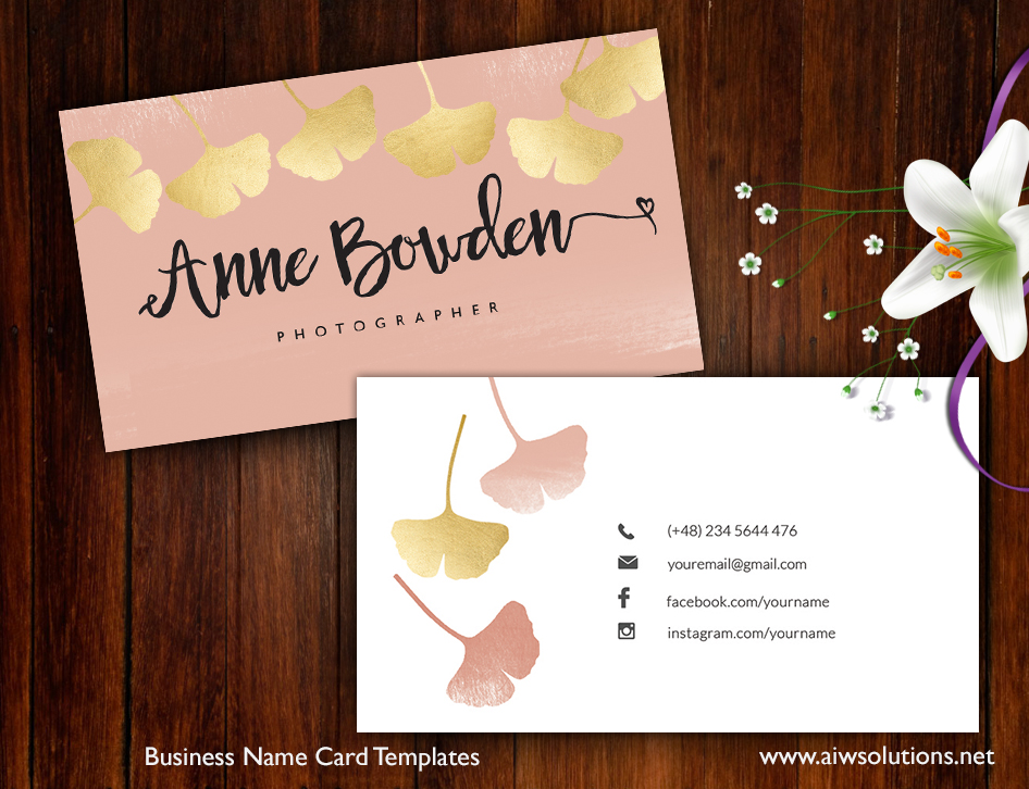 Premade Business Card Template, Name Card Template, Photography name ...