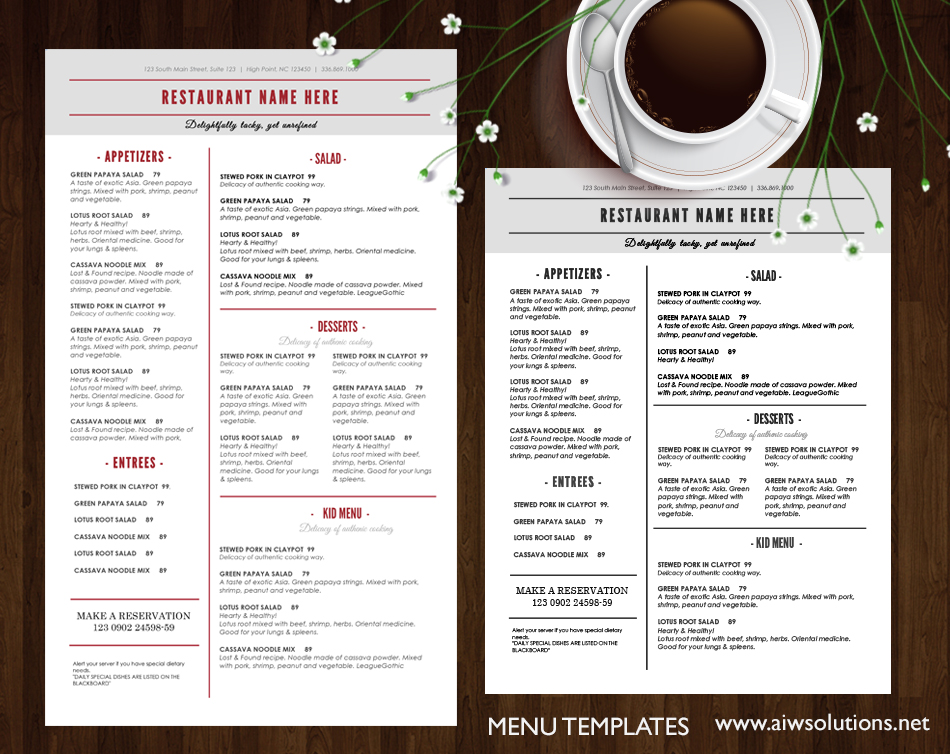 French Restaurant Food Menu