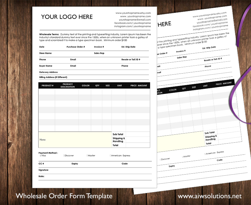 Custom catalog custom line sheet line sheet design for Candle order form template