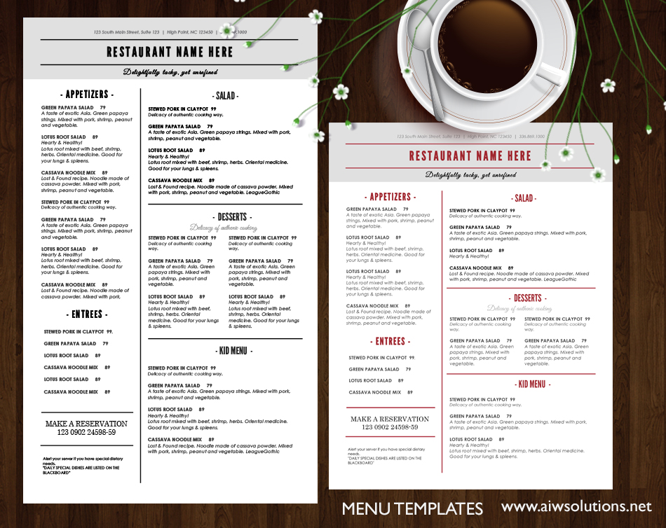 french and america Restaurant menu template