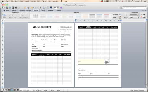 word template with order form information and pricing list