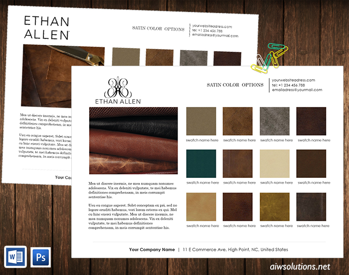 colour leather options line sheet