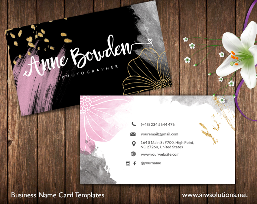 name card template-Golden and pink