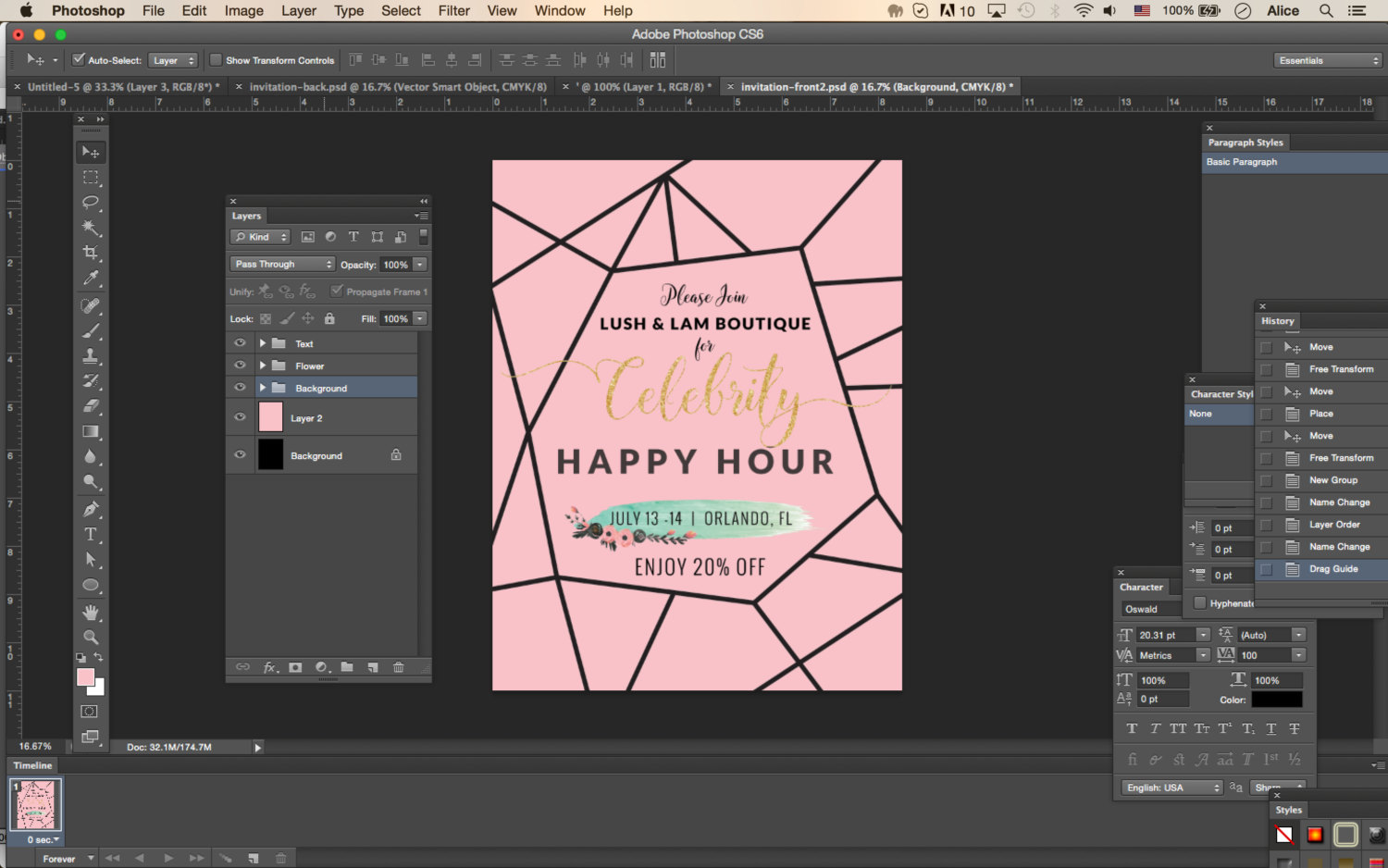 photoshop template invitation pink