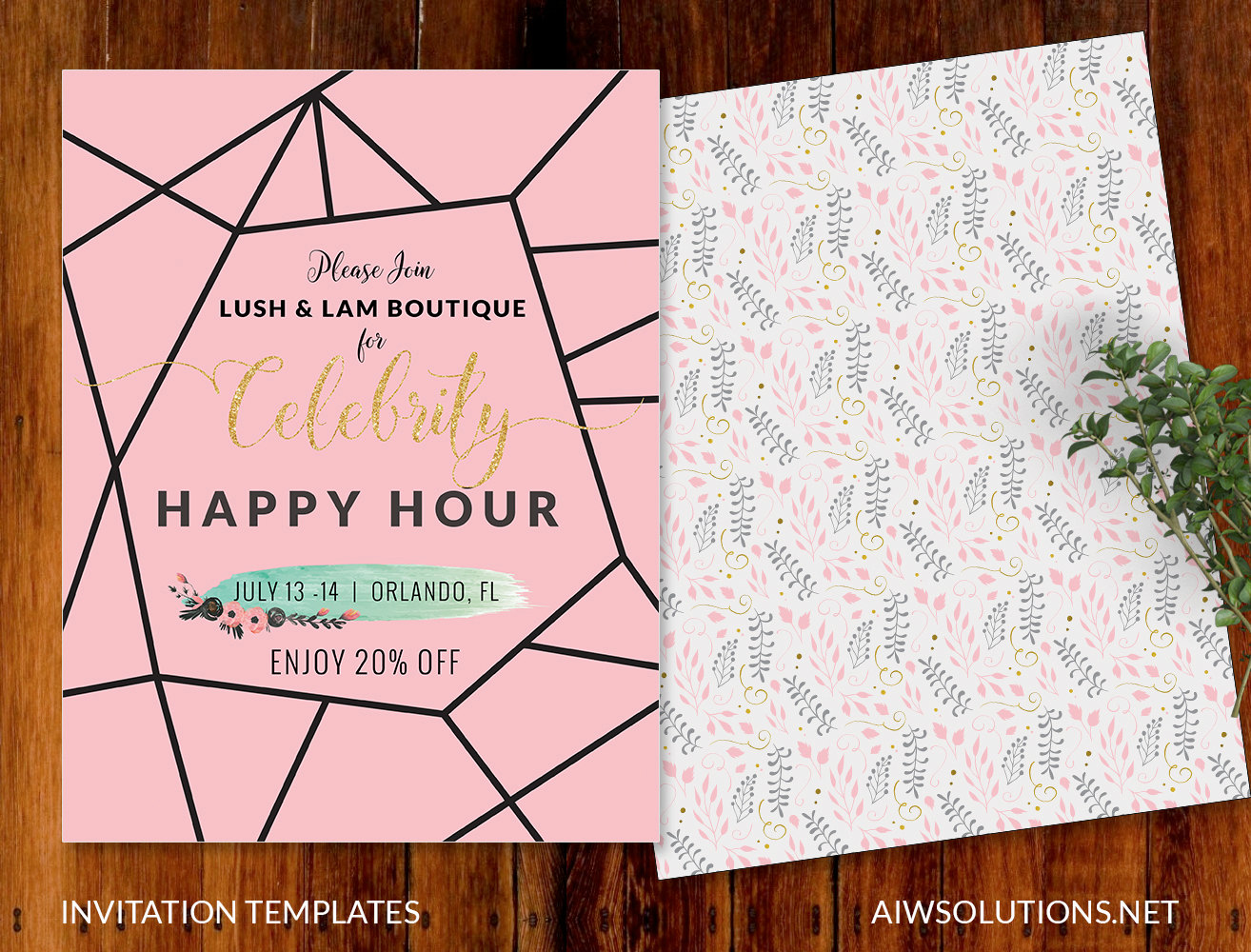 celebrity happy hour invitation template , pink and gold invitation template