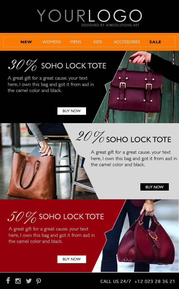 email marketing  eblast template  email template  fashion