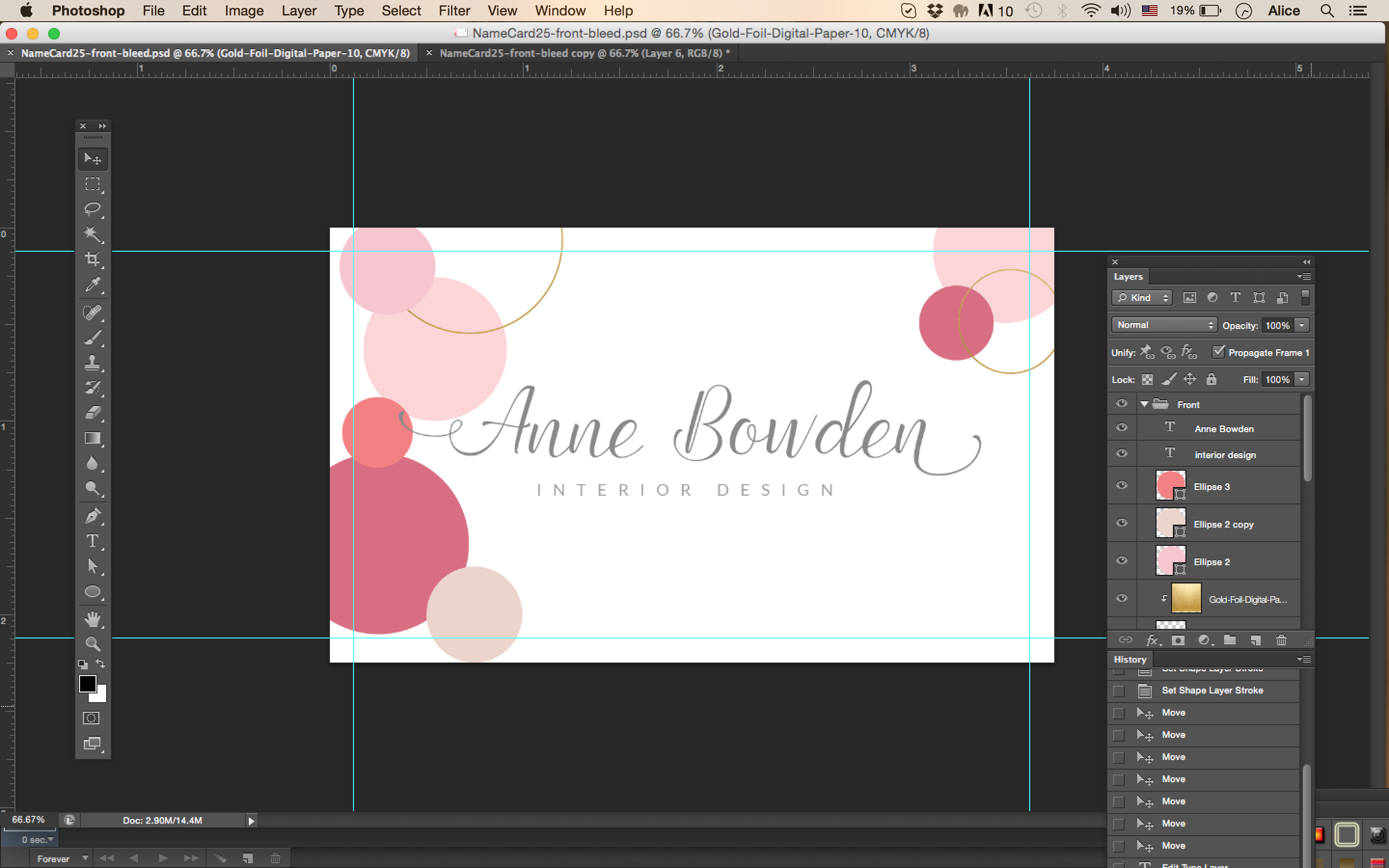 Pink, light pink, glitter gold name card template