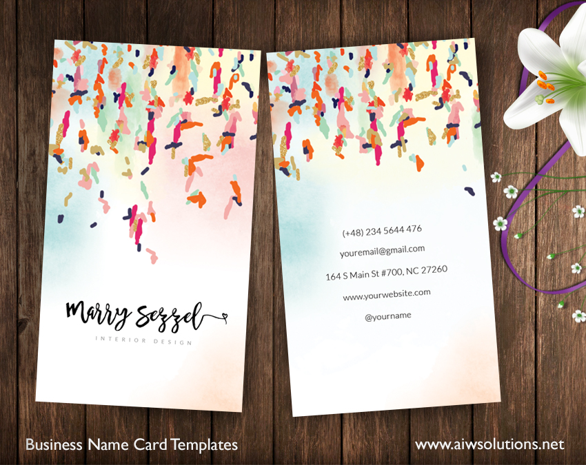 Elegant Colourful Name Card For Designer Or Artist