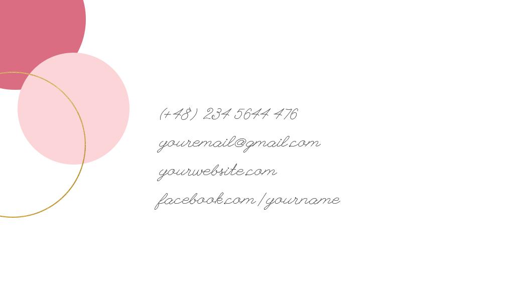 namecard template-pink gold back