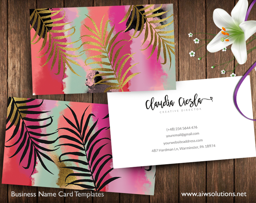abtract art with gold foil name card